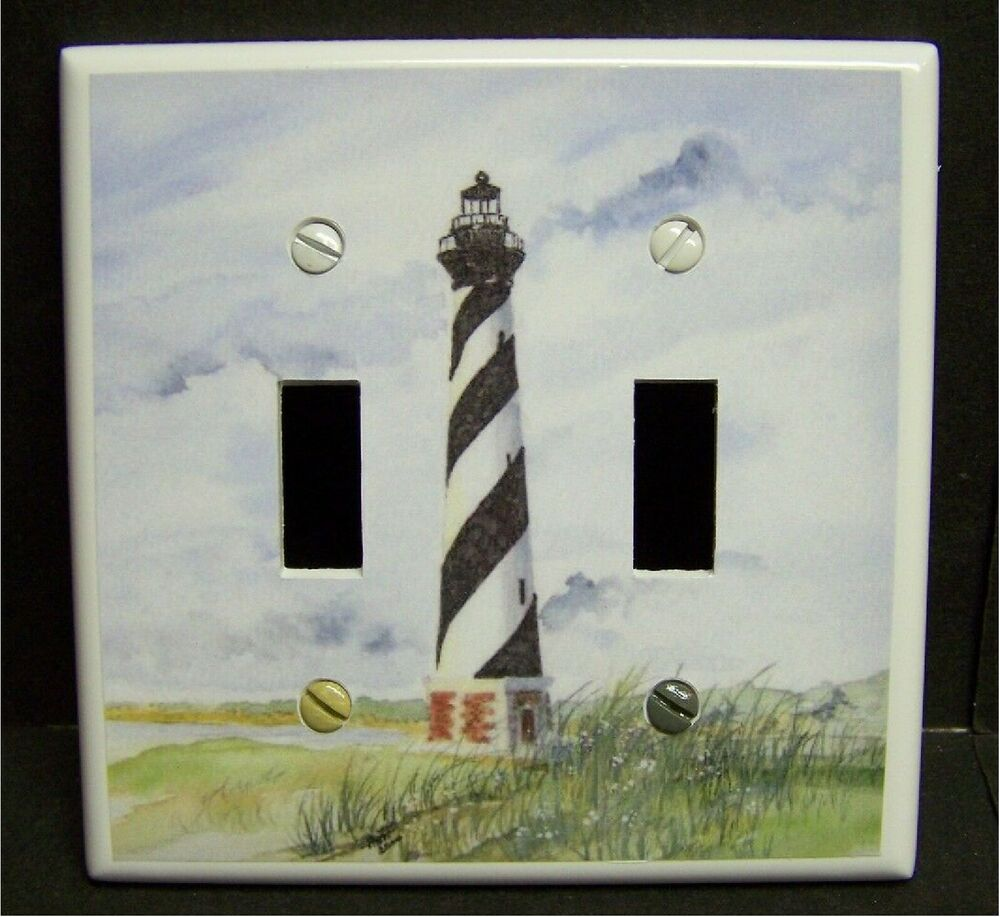Cape hatteras lighthouse 2 light switch or outlet cover for Lighthouse switch plates