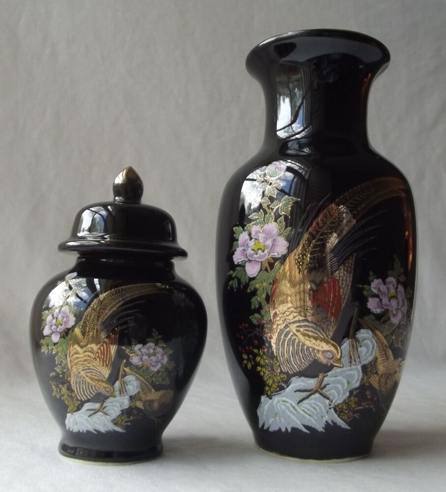 Lovely Vintage Japanese Floral And Pheasant Vase And Matching Ginger Jar Ebay