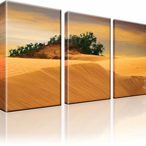 d ne sahara afrika landschaft kunstdruck wandbild 3 teilige bilder ebay. Black Bedroom Furniture Sets. Home Design Ideas