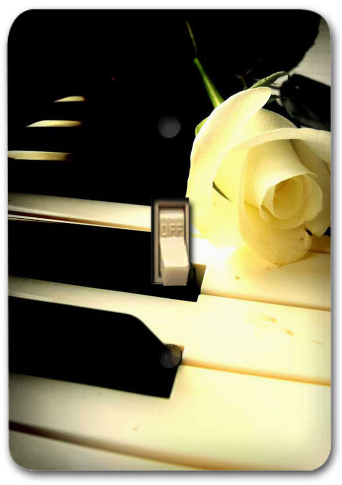 Piano White Rose Music Design Metal Switch Plate Cover