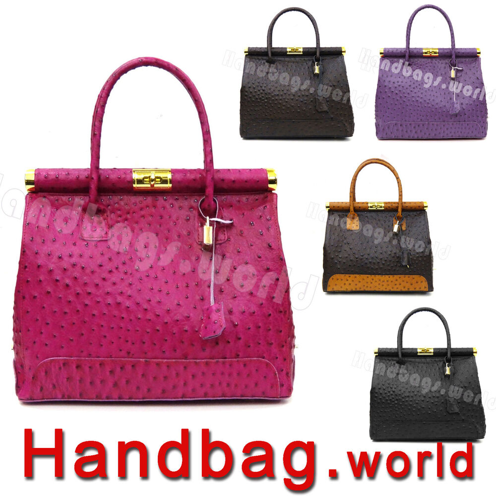 Genuine Italian Ostrich Print Real Leather Satchel Bag