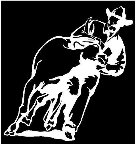 White Vinyl Decal Steer Wrestling Rodeo Calf Cowboy