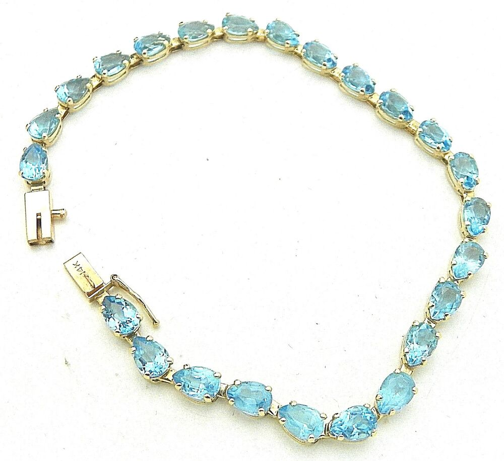 BLUE TOPAZ 7 INCH LONG BRACELET SOLID 14K GOLD, 6.5g