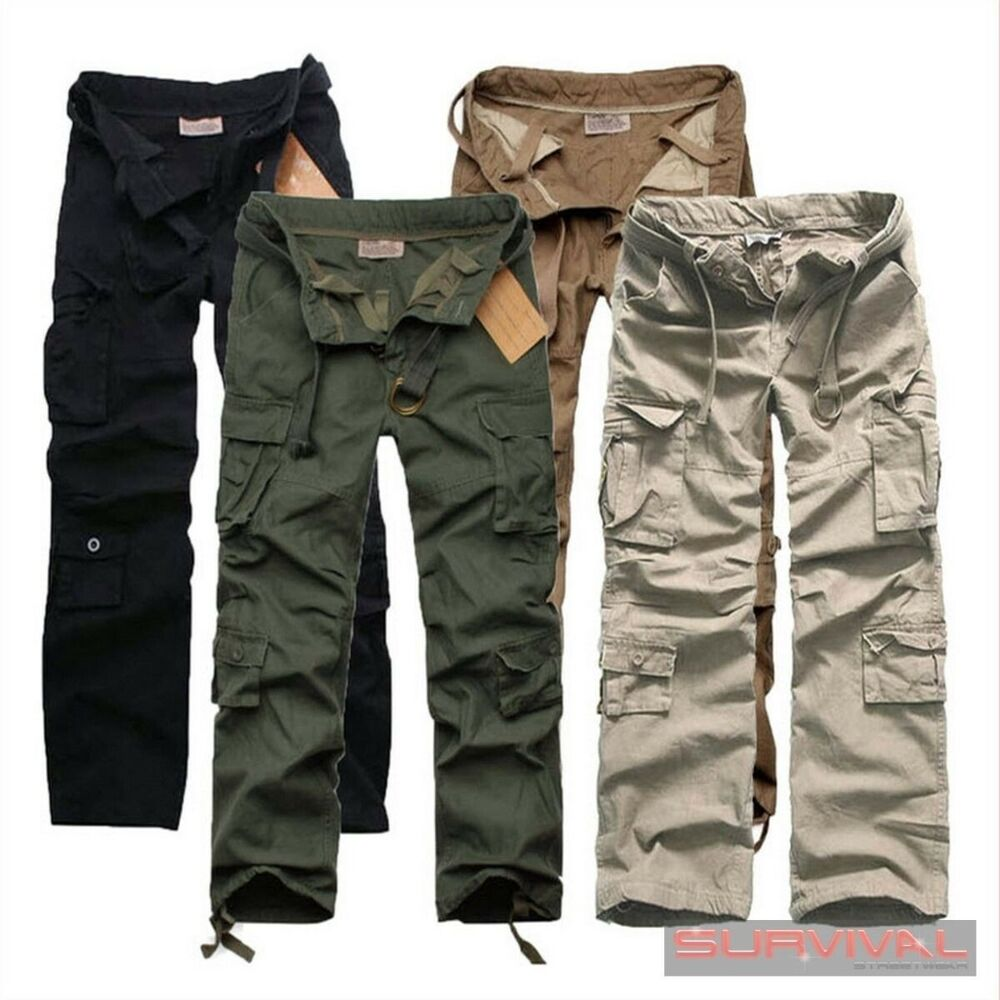 NEW MENS ARMY CARGO LOOSE FIT DESIGNER MILITARY COTTON PANTS SIZE ...