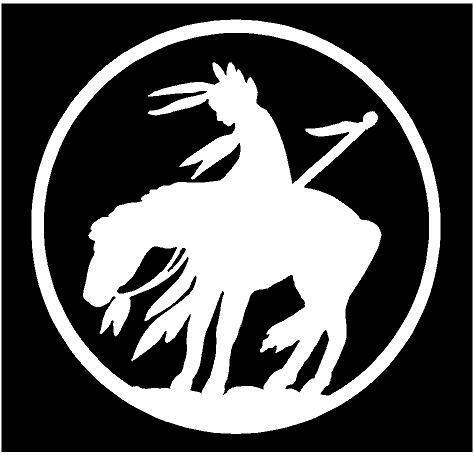 White Vinyl Decal Last Ride Indian On Horse Native