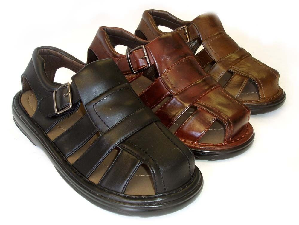 New mens leather strap fisherman comfort sandals closed for Mens fishing sandals
