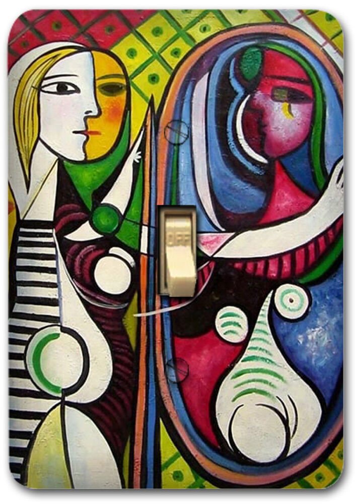 girl before a mirror pablo picasso metal light switch plate cover home decor 547 ebay. Black Bedroom Furniture Sets. Home Design Ideas