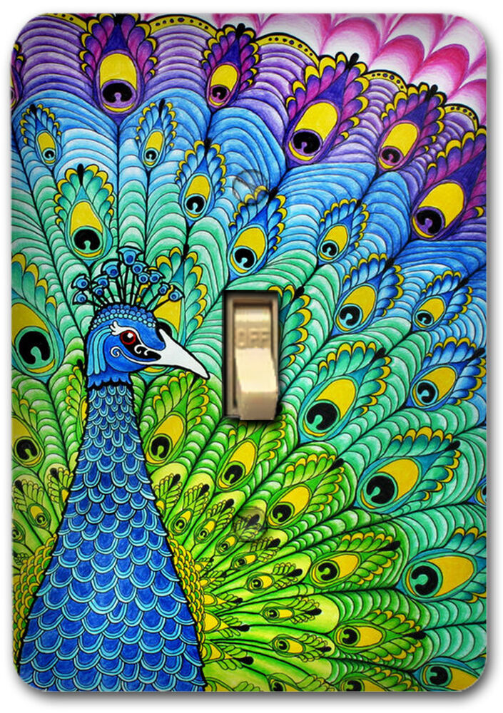 Colorful Peacock Metal Switch Plate Cover Kitchen Bath