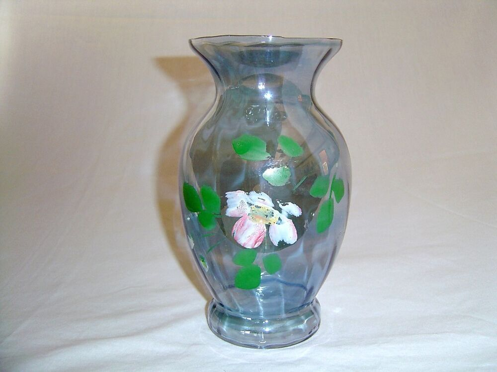 Clear Blue Iridescent Optic Paneled Glass Vase Painted