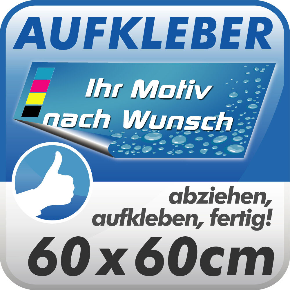 aufkleber digitaldruck klebefolie 60x60 cm mit motiv text nach wunsch ebay. Black Bedroom Furniture Sets. Home Design Ideas