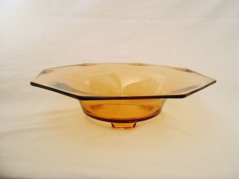 Amber glass quot centerpiece console fruit bowl sided