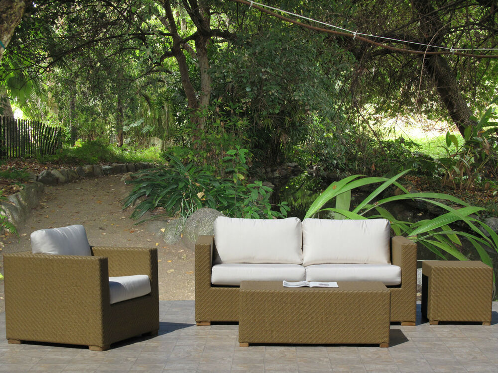 Peyton Natural Outdoor Patio Furniture Resin Wicker Sofa 4