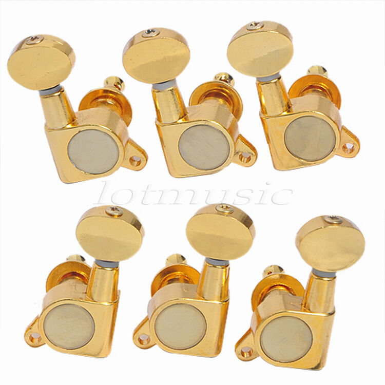 gold 3l3r guitar string tuning pegs machine heads for fender gibson replacement ebay. Black Bedroom Furniture Sets. Home Design Ideas