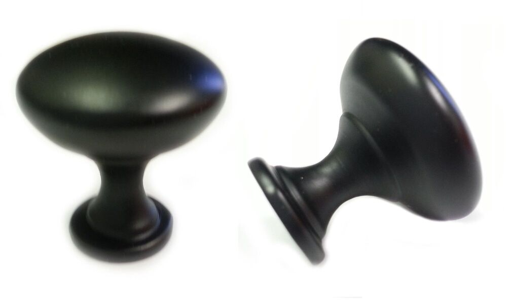 50pcs MATT BLACK MUSHROOM KITCHEN CABINET KNOBS 30mm 1 1