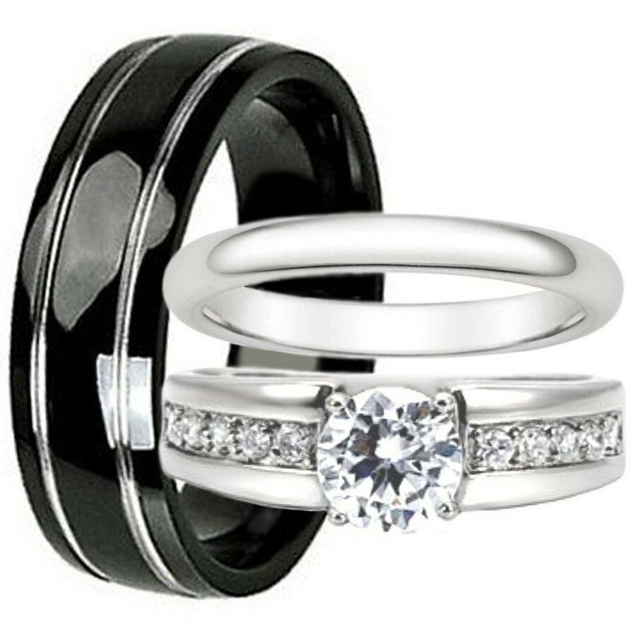His and Hers Wedding Bands Set Black Titanium Stainless Steel Engagement Ring