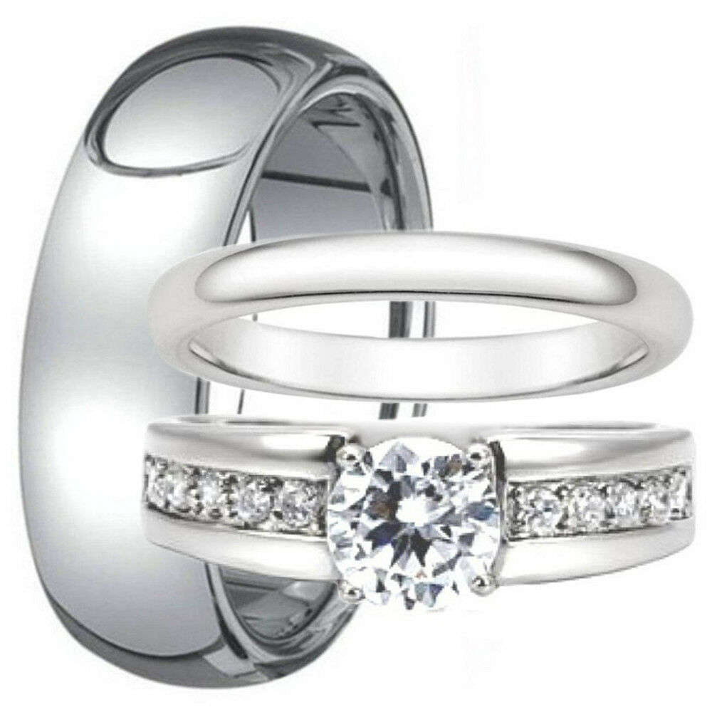 Wedding Band Stainless Steel 8mm: 3 PC His Tungsten 8mm & Hers Stainless Steel CZ Wedding