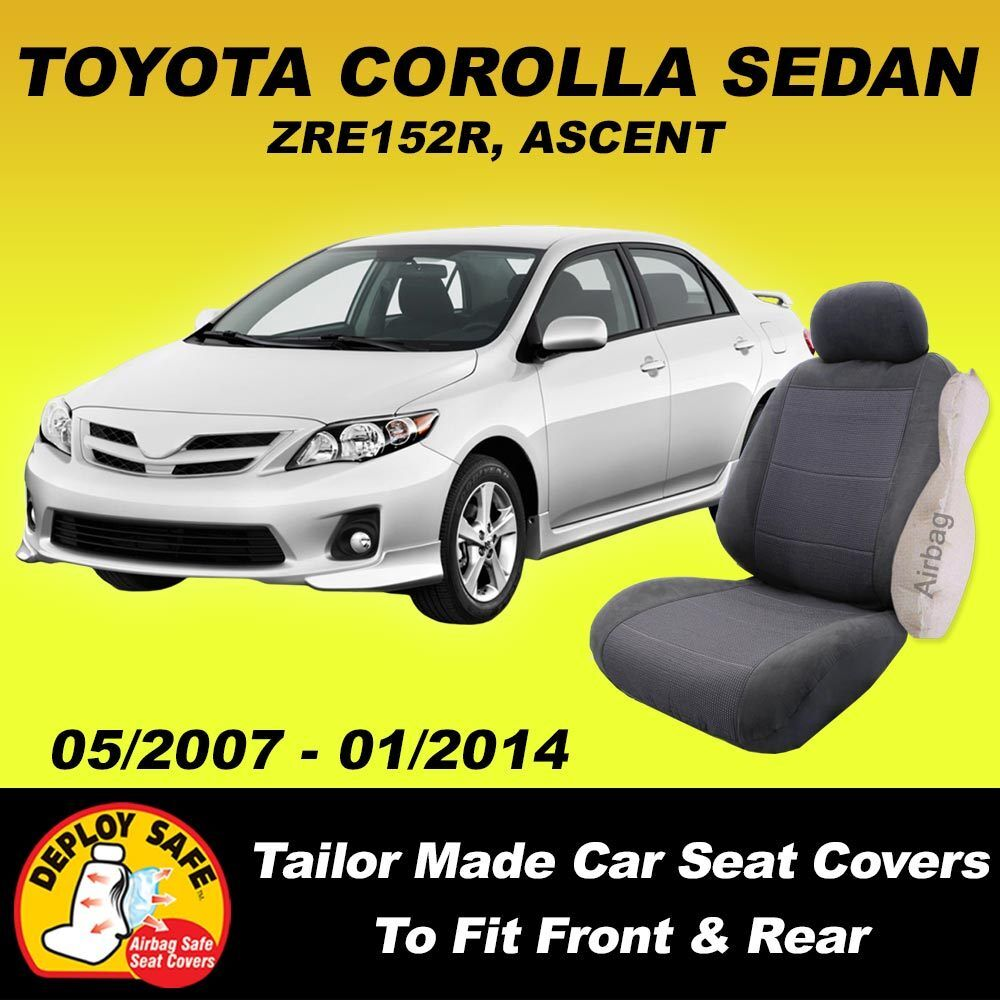 car seat covers to fit toyota corolla sedan front rear 2007 01 2014 airbag safe ebay. Black Bedroom Furniture Sets. Home Design Ideas