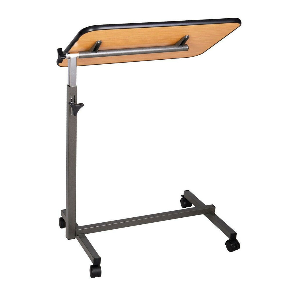 Hospital tilt top rolling overbed over bed table computer for Table locks acquired immediately 99