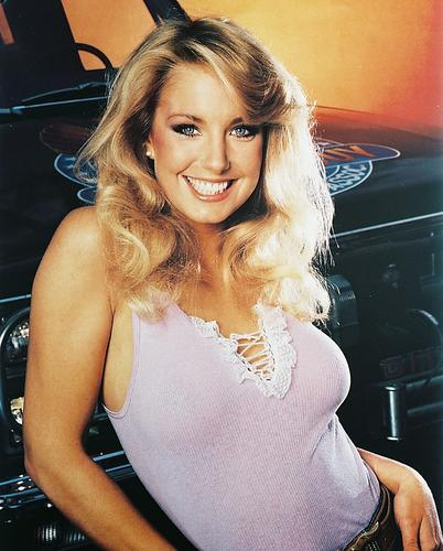 Heather Thomas sexy smiling huge cleavage with truck The ...