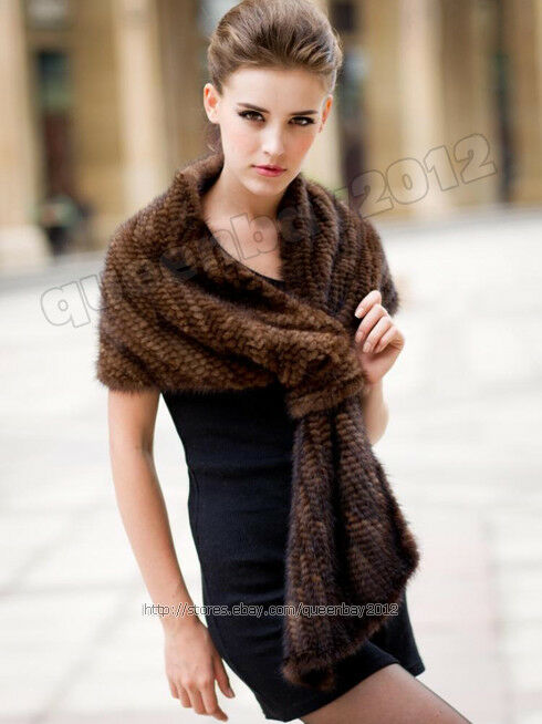 100 real knitted mink fur scarf cape stole shawl coat wrap fashion evening new ebay - Polsterstoffe fur stuhle ...
