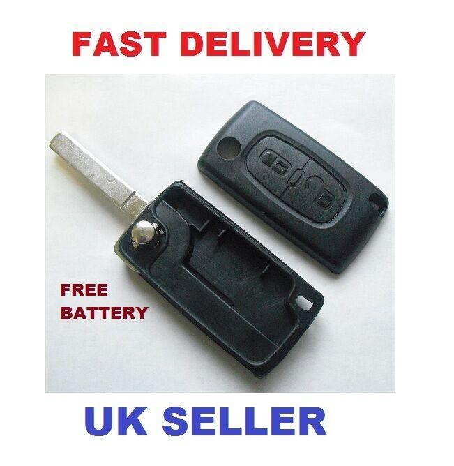 peugeot 207 307 308 407 2 button remote key fob case new battery ebay. Black Bedroom Furniture Sets. Home Design Ideas