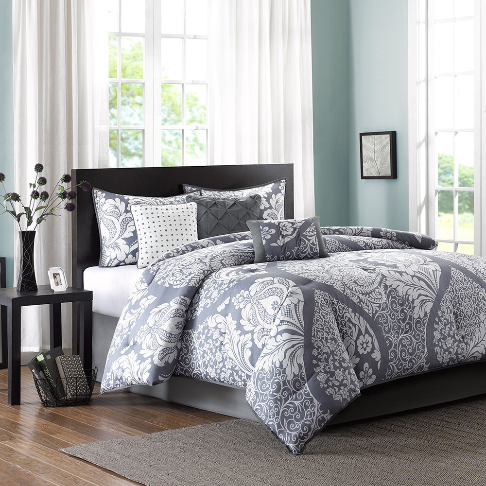 Beautiful Modern 7 Pc Contemporary Grey White Comforter Set Cal