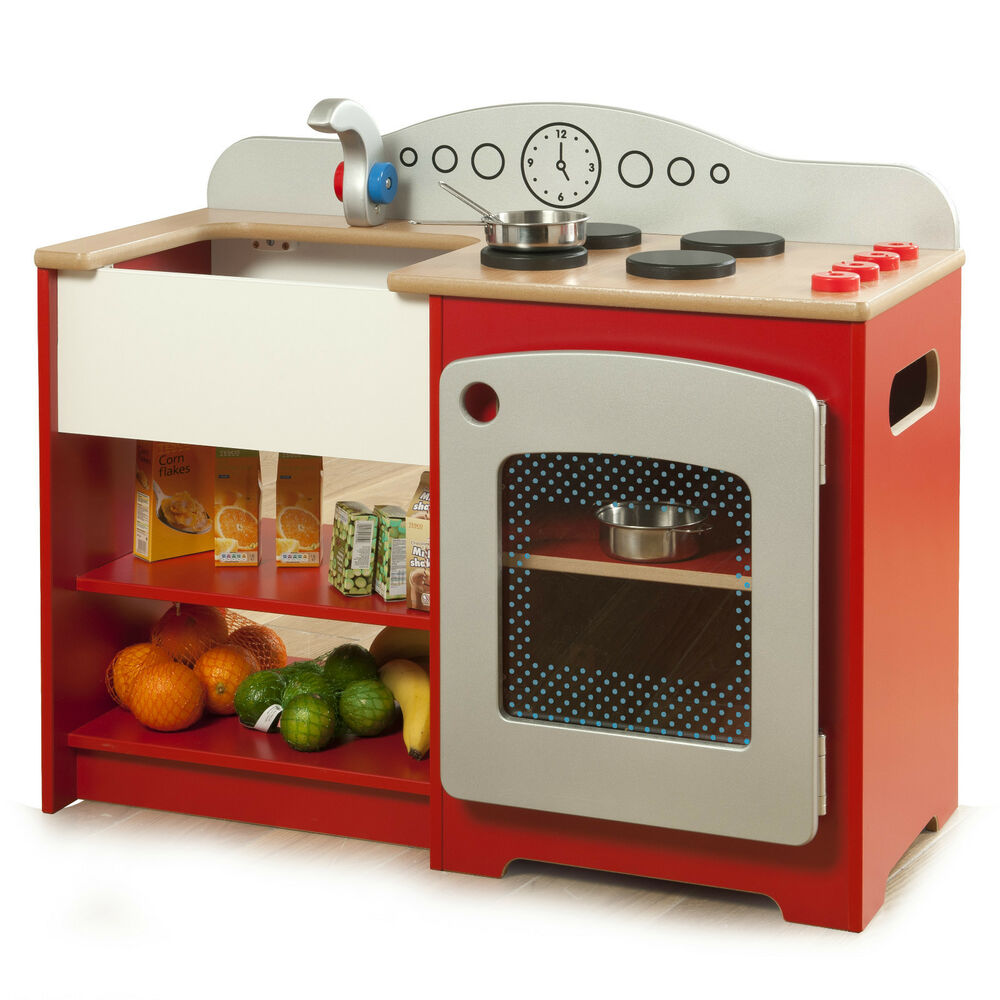 Childrens Wooden Toy Kitchen Pretend Play Red Kitchen Cooker Oven Ebay