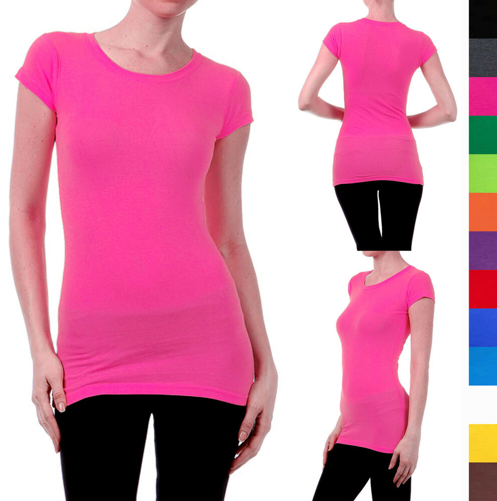 Short sleeve basic t shirt solid top long length fitted for Long sleeve fitted tee shirt
