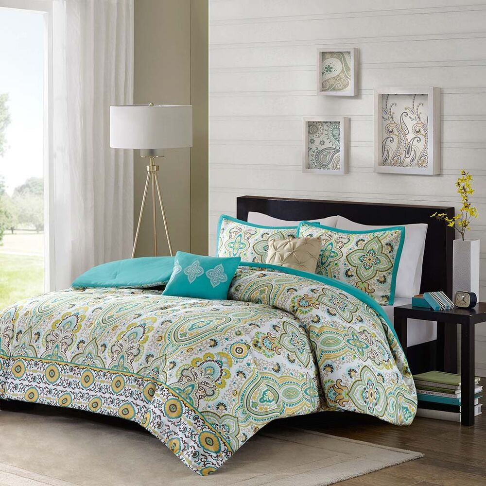 beautiful modern chic teal blue yellow brown green comforter set full queen twin ebay. Black Bedroom Furniture Sets. Home Design Ideas