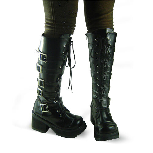 schwarz steam punk gothic lolita damen stiefel boots shoes. Black Bedroom Furniture Sets. Home Design Ideas