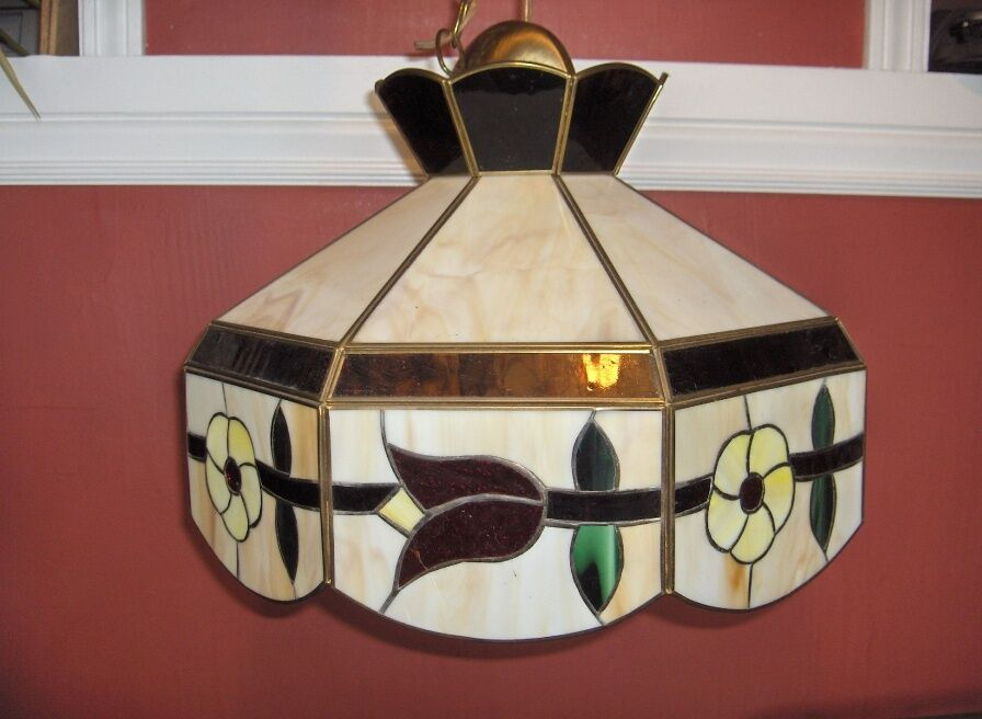 Vintage Tiffany Style Hanging Ceiling Light Stained Glass