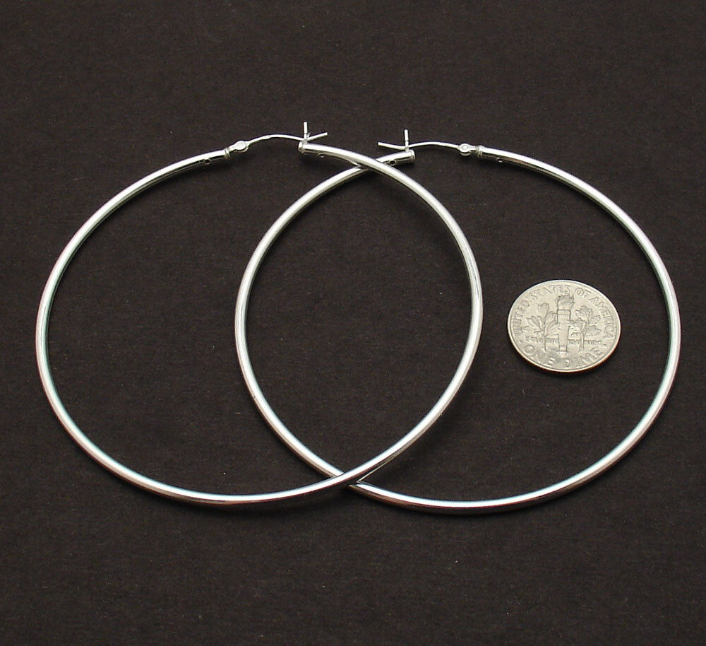 2mm x 70mm 3 quot large plain polished hoop earrings real 925