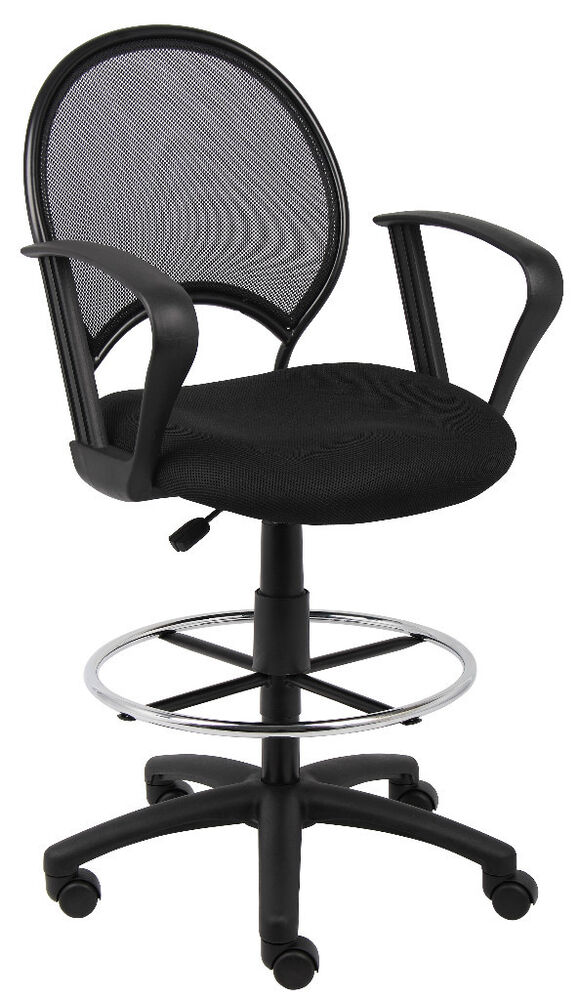 Mesh Drafting Stool Chair Design With Open Back With Loop
