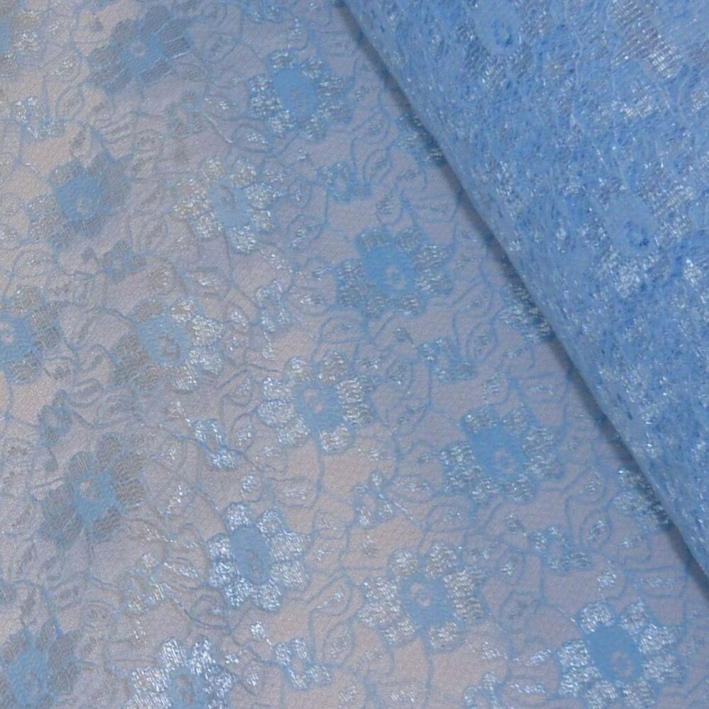 Baby pale blue budget flower lace fabric per metre ebay for Baby fabric uk