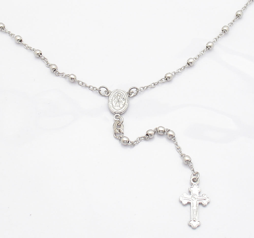 3mm anti tarnish solid rosary rosario chain necklace real
