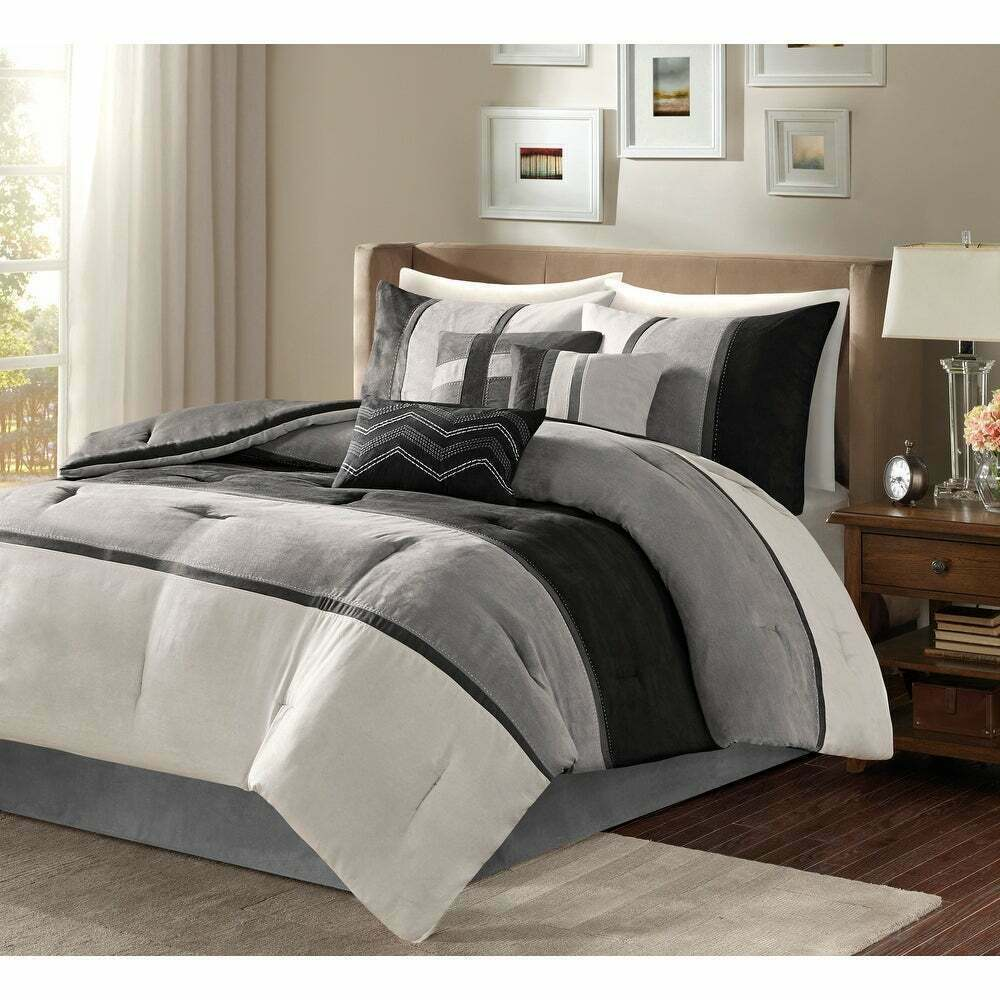 Beautiful 7pc modern elegant grey black modern comforter set cal king queen ebay Master bedroom bed linens