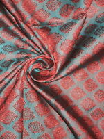 100% Pure Silk Brocade fabric Kingfisher/Teal Green & Red Color