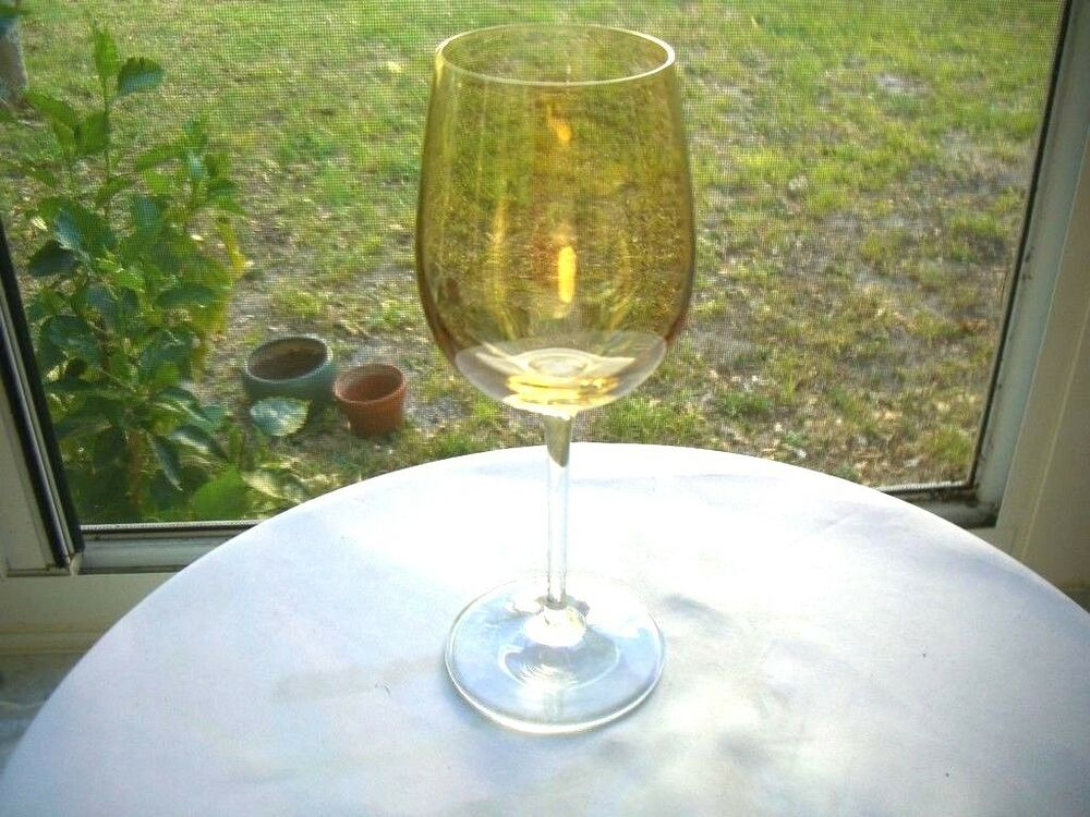 Full high quality yellow crystal tall stem wine glass ebay for Thin stem wine glasses