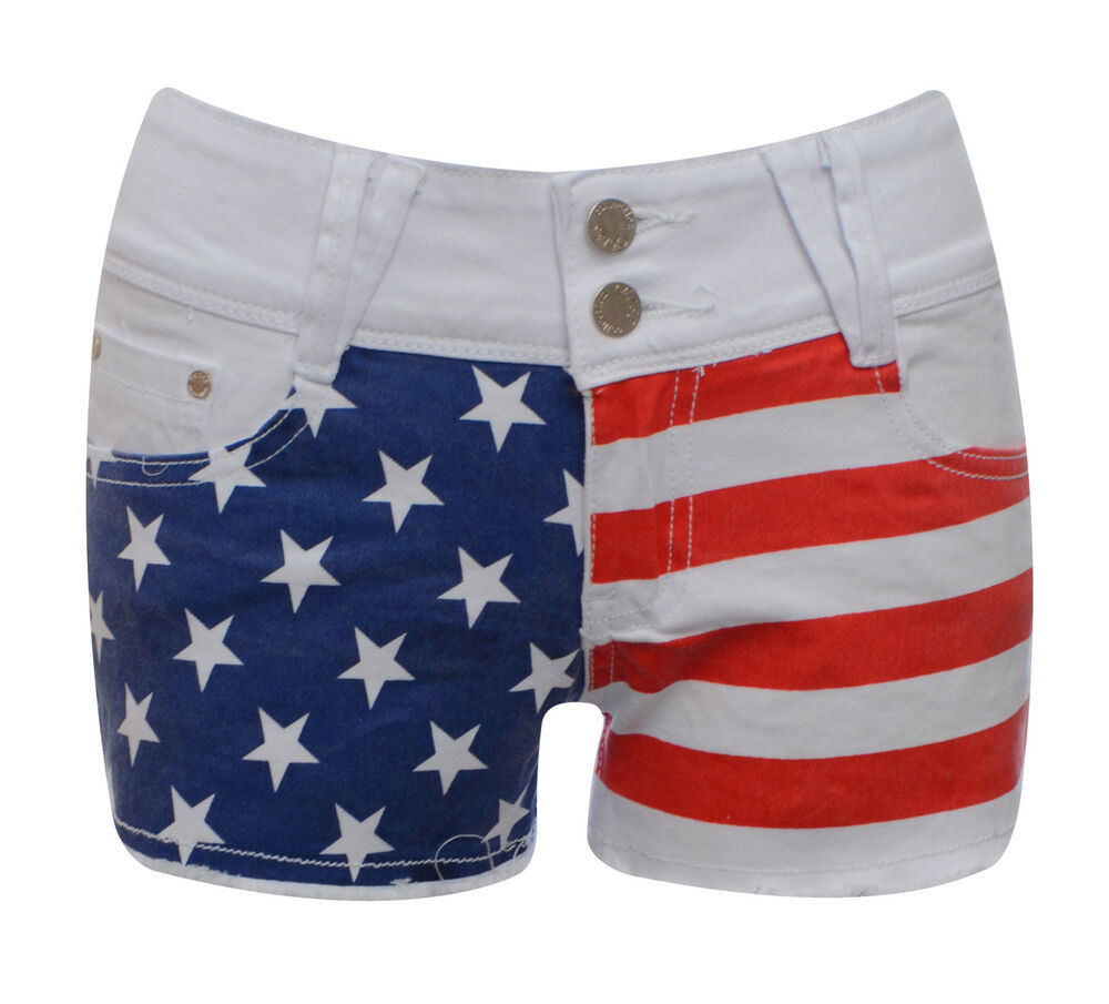 Womens shorts ladies american flag stars and stripes white for Women s fishing shorts