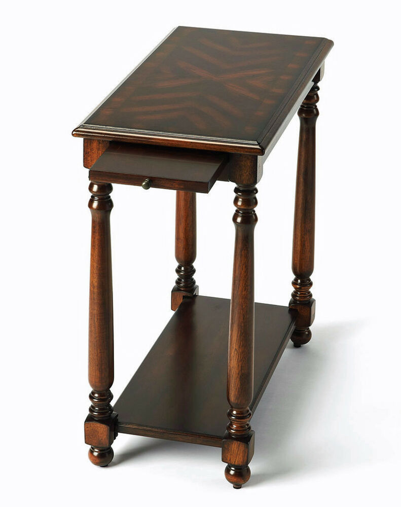 Monterey Side Table With Pull Out Shelf Cherry Finish