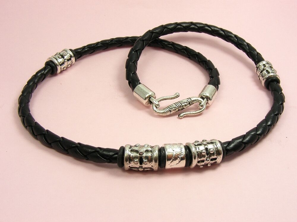 surfy 5mm braided synthetic leather choker necklace