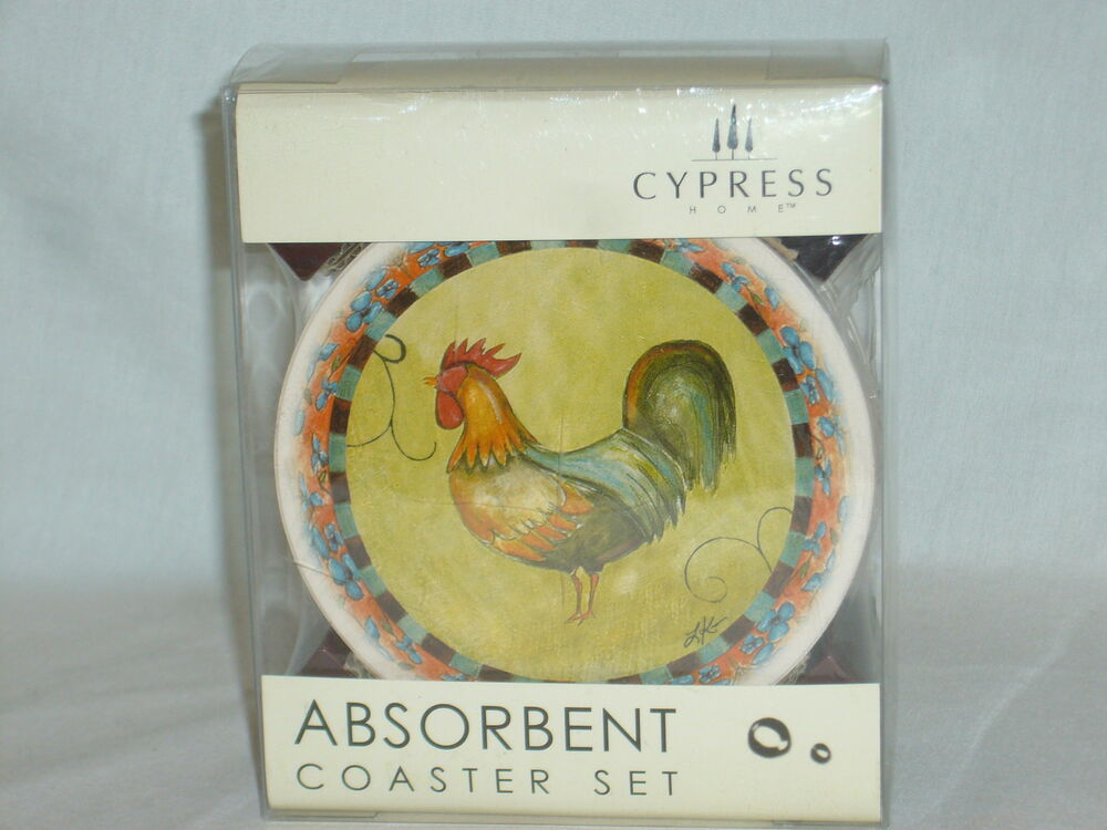 Fresco rooster absorbent stone coaster set 4 with wooden caddy nib ebay - Stone absorbent coasters ...
