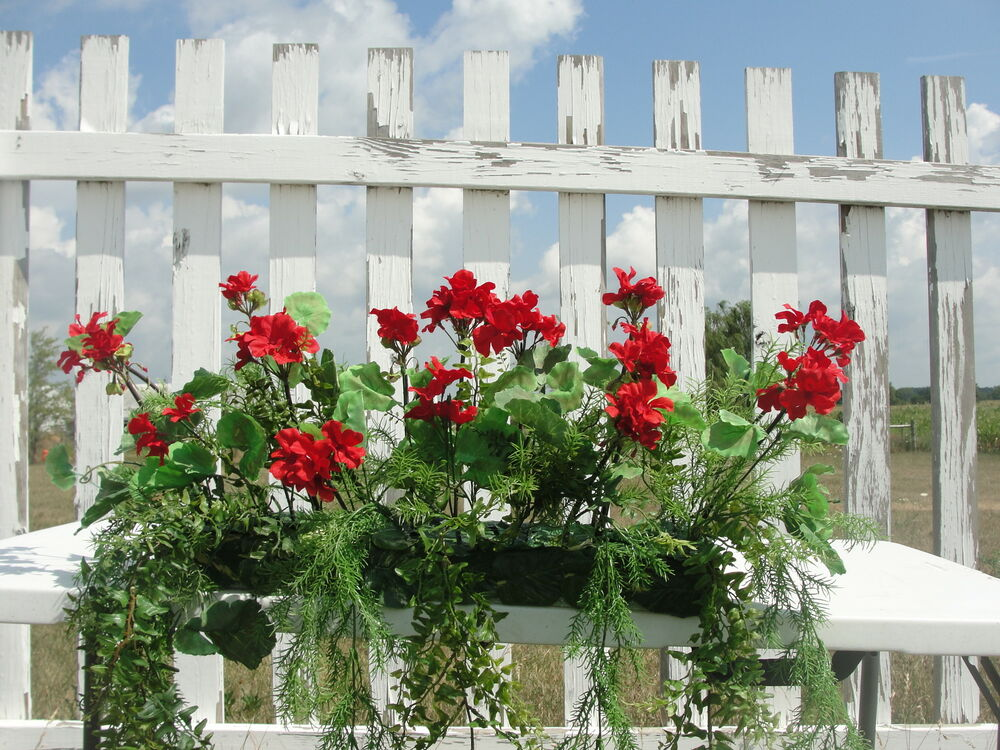 Outdoor window box silk red geraniums fern arrangement for Flower garden decorations