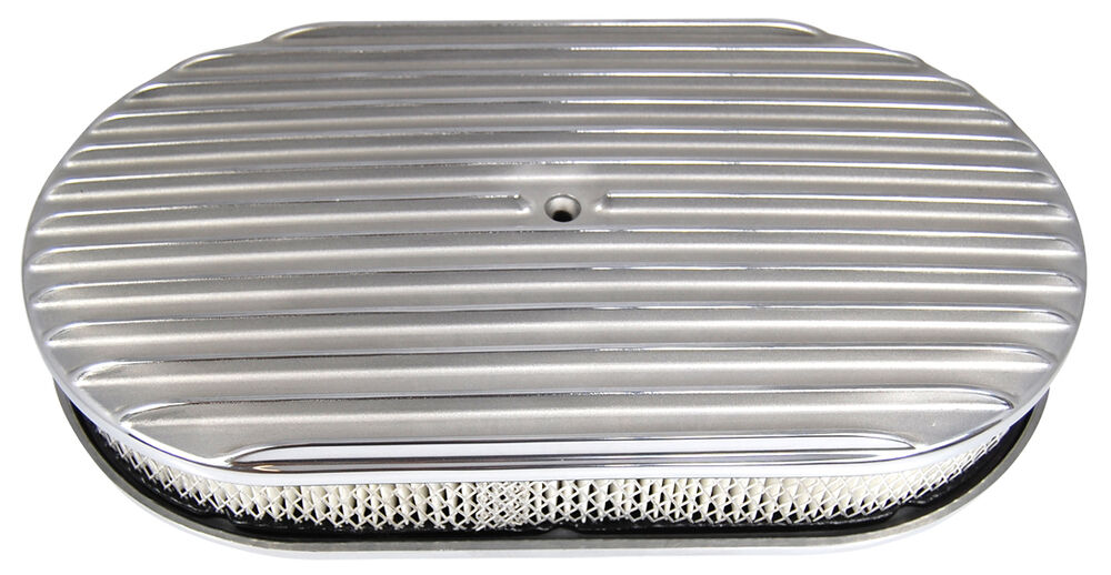 Finned Air Cleaner : Inch polished aluminum finned oval air cleaner chevy