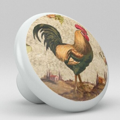 Country Rooster Chicken Ceramic Knobs Pulls Kitchen Drawer