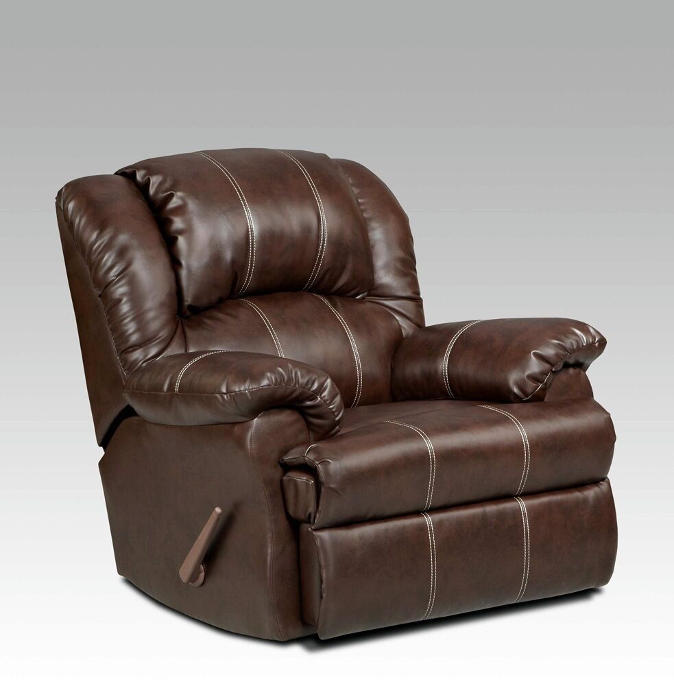 Brown With Cream Stitching Leather Recliner