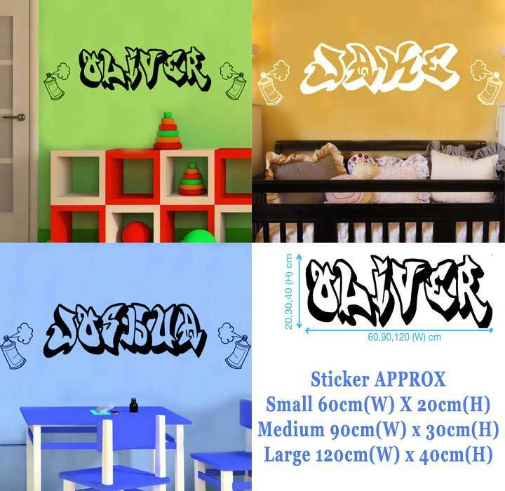 Graffiti Style Personalised Name Wall Stickers Girl Boy 3
