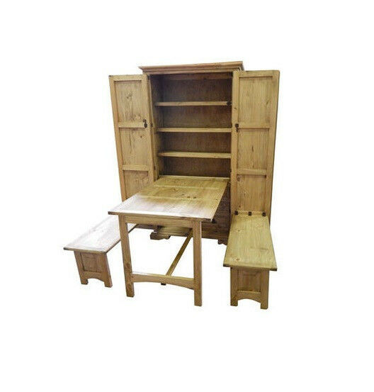 rustic cowboy kitchen solid pine western fold up table murphy style ebay. Black Bedroom Furniture Sets. Home Design Ideas