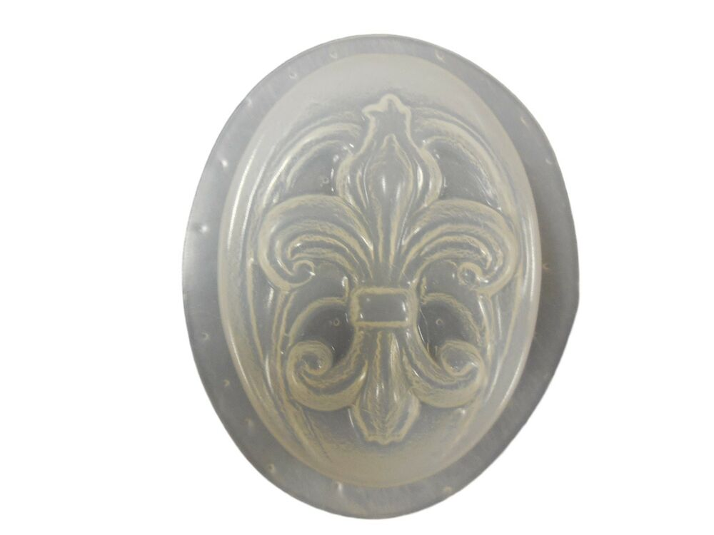 qty 2 decorative oval swirl fleur de lis soap or plaster plaque mold 4735 ebay. Black Bedroom Furniture Sets. Home Design Ideas