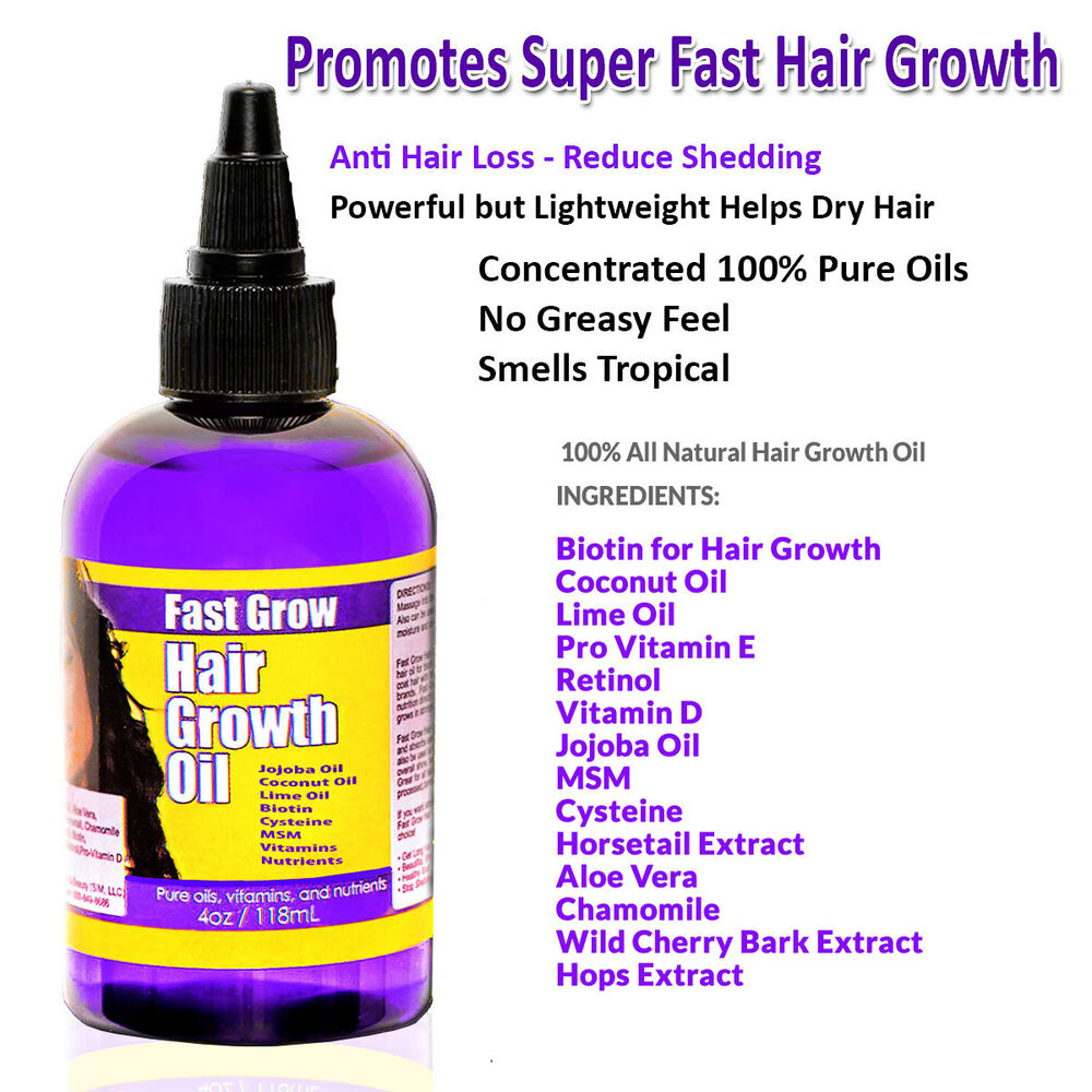 Fast Grow Hair Oil 4oz Coconut Oil Biotin Jojoba MSM and